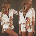 Women Casual Floral Jumpsuit Deep V-Neck Half Sleeve Rompers Womens Jumpsuit Hot Short Loose Playsuit Combinaison Femme
