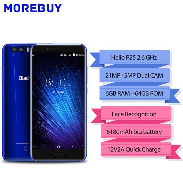 "Blackview P6000 смартфон 5.5 ""16:9 FHD Уход за кожей лица ID helio P25 octe core 6180 мАч 6 ГБ 64 ГБ 21mp двойной камеры Android 7.1 4 г мобильного телефона"