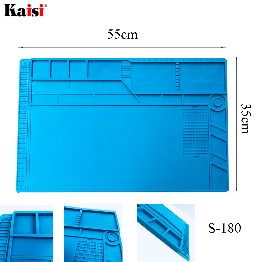 Newest 55x35cm S-180 Heat Insulation Silicone Pad Desk Mat Maintenance Platform For Mobile Phone BGA Soldering Repair