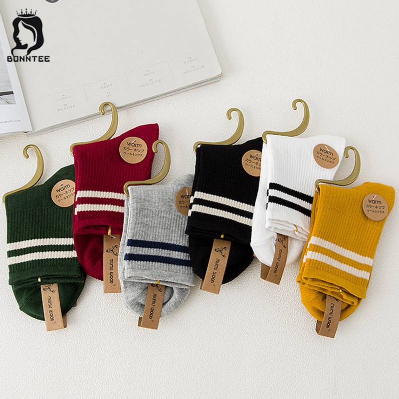 Cotton Breathable Winter Women Striped   Socks   Womens Fashion Simple   Sock   Females Candy Color Students Female Daily Trendy Girls