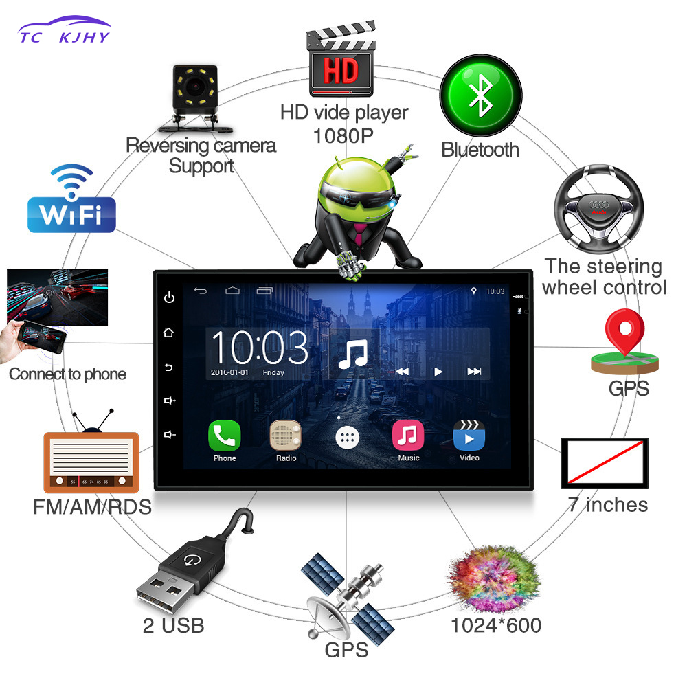 2 Din Car Radio 7 Inches Dvd Automotivo Android Player Navigation Reversing Camera GPS Bluetooth Steering Wheel Control Punto 336dg universal 6 2 screen dvd player w radio gps navigation bluetooth steering wheel control