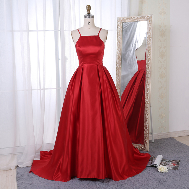 BeryLove Long Ball Gown Red Evening Gowns 2018 Simple Evening Dresses Style  Satin Graduation Dresses Prom Gowns For Party b35954bb4a44