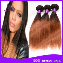 7a malaysian virgin hair straight ombre Ms lula malaysian straight hair 4 piece lot T1B/30 100% human hair for black women