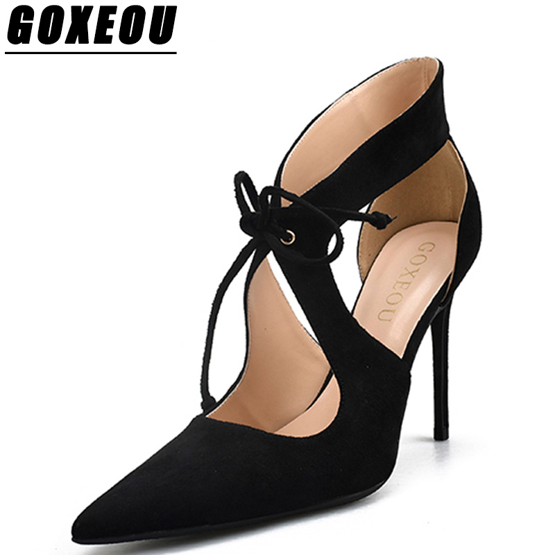 GOXEOU Womens Sandals Casual Fashion Gladiator Sandals Women Pointed Toe Spike High Heels Shoes Woman Brand High Heels Sandals недорго, оригинальная цена