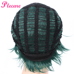Image 5 - Plecare Short  Straight Wig Ombre Green  Heat Resistant Hair Synthetic Wig For Black/White Women Anime Cosplay/Party Wigs