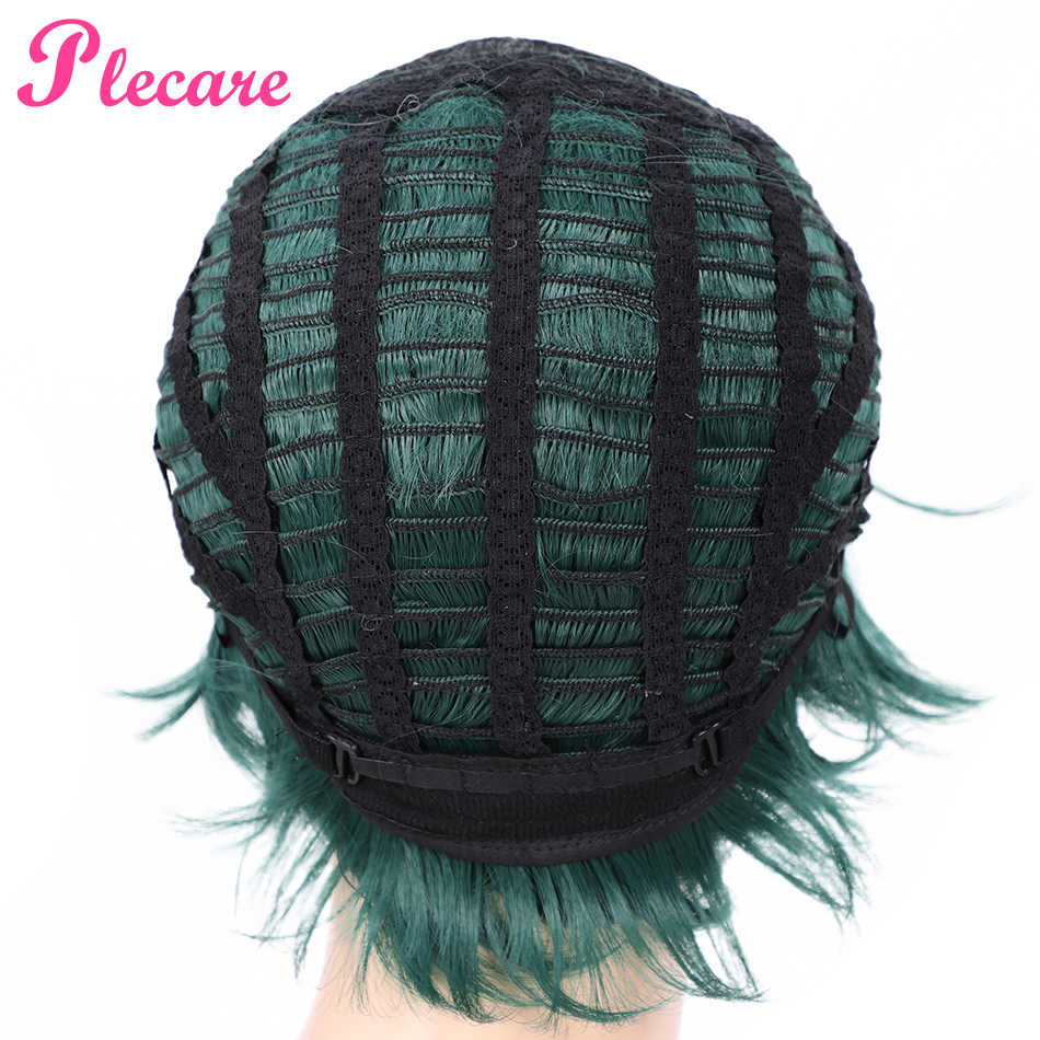 Plecare Short Wavy Wig Ombre Green High Density Heat Resistant Hair Synthetic Wig For Black White Women Anime Cosplay Party Wigs in Synthetic None Lace Wigs from Hair Extensions Wigs