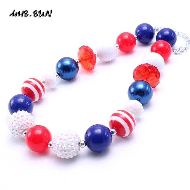 7f5c511bf7fa MSH. sol 2 unids niño Bubblegum collar de cuentas azul + rojo 4th Julio Kid