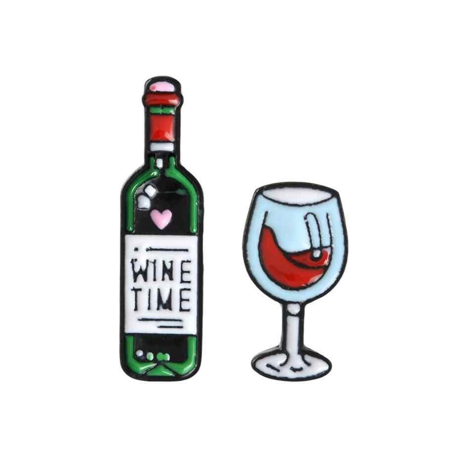 ไวน์ Time Mini น่ารักแว่นตาไวน์และไวน์คู่ Pins ขวดไวน์แดงถ้วยเข็มกลัดป้ายเคลือบฟันสำหรับคนรักเพื่อนที่ดีที่สุด Pins