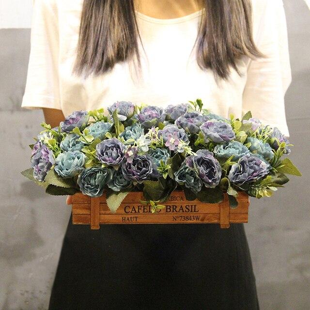 1 Satz Rose Coreopsis Anlage Quadratischen Holzernen Blumentopf