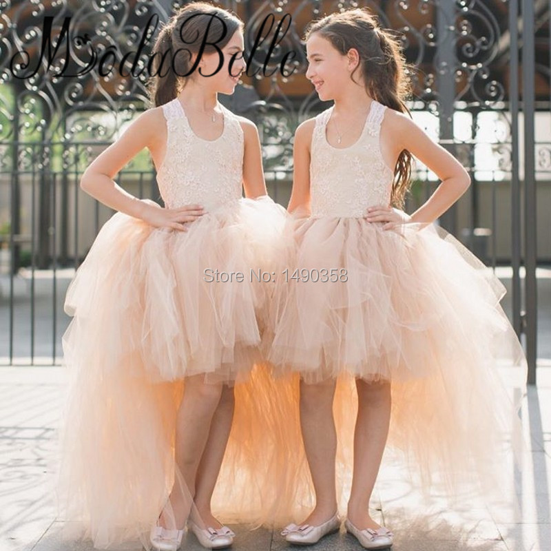 tulle dentelle fleur filles robes pour mariage de plage 2017 court devant longue dans retour filles - Aliexpress Mariage