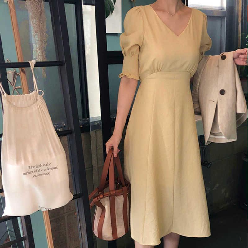 Flectit 80 s платье для женщин персиковый цвет желтый микро плед с пышными рукавами Высокая талия длинное платье с галстуком пояс винтажное платье *