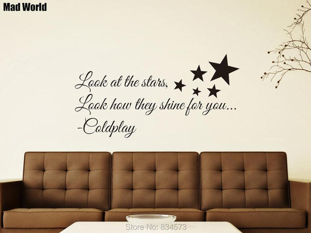 Look At The Stars Shine for you Coldplay Lyrics Wall Art Stickers ...
