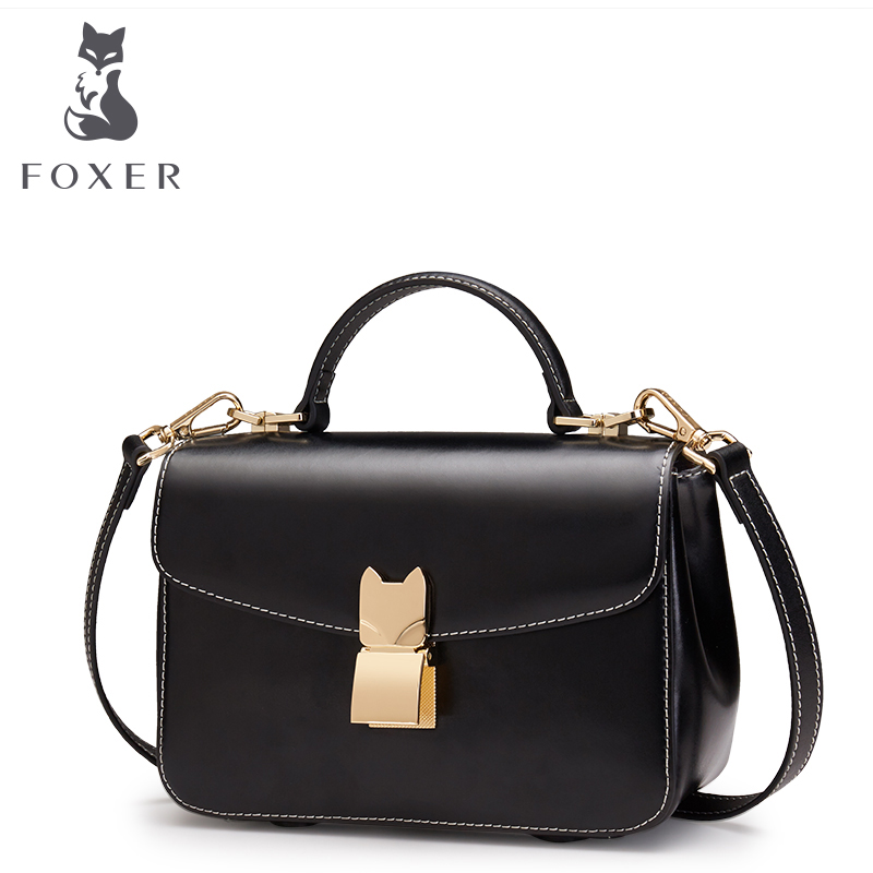 Foxer Brand Women's Split Leather Small Flap Shoulder Bag Female Crossbody & Messenger Bags Girl's New Fashion Handbags 2017 fashion all match retro split leather women bag top grade small shoulder bags multilayer mini chain women messenger bags