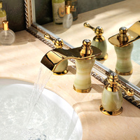 Hot and cold faucets natural jade 8 inches crack three European gold waterfall hand basin faucet