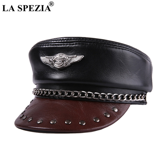 LA SPEZIA Leather Military Caps Men Black Motorcycle Rock Army Caps With Chain Male Genuine Leather Captains Hat Autumn Flat Cap