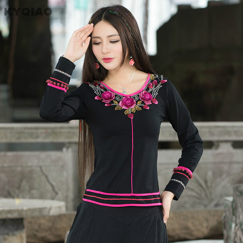 KYQIAO Camisas Femininas Women Pullover Female Vintage 70s Ethnic Mexico Style Long Sleeve V Neck Black Embroidery T-shirt