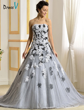 New Arrival Romantic Wedding Dresses Linght Gray Lace Strapless Lace-up Black&White Appliques Amazing Chapel Train Bridal Gowns