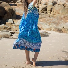 Women Plus Size Kaftan Dress Beach Kimono Cover Up Nightdress Boho Dresses