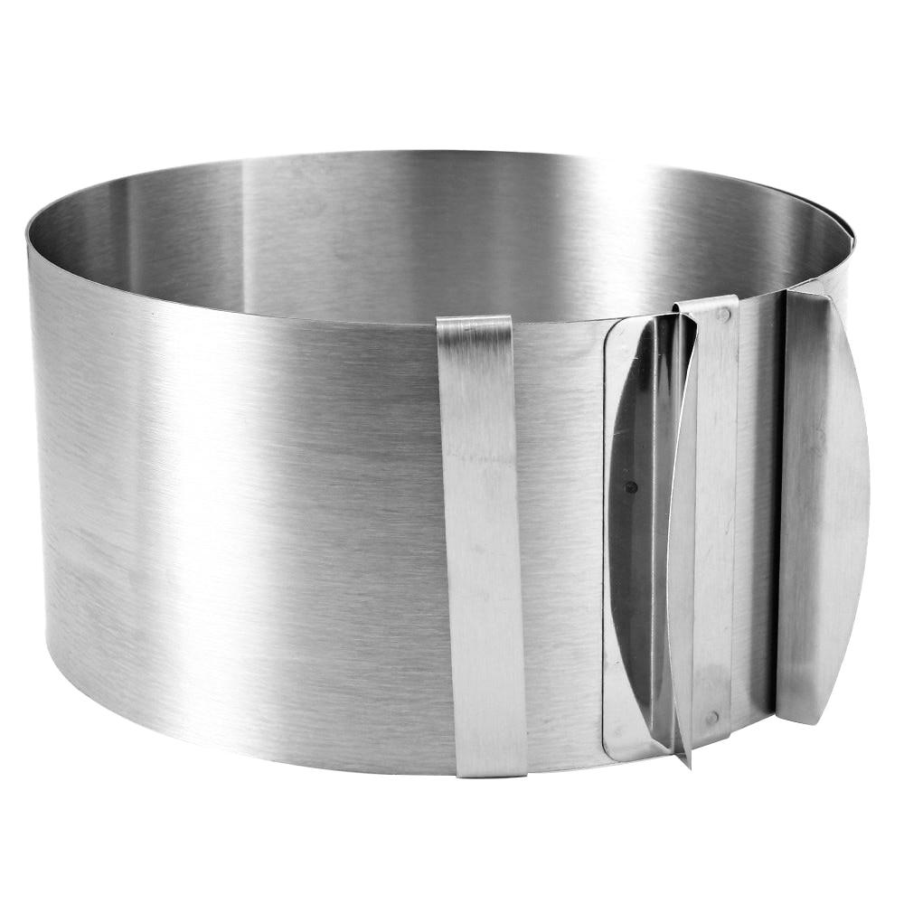 Versenkbare Edelstahl Kreis Mousse Ring Kuchen Backen Werkzeug Set Größe Form Einstellbare Backformen Silber FJS