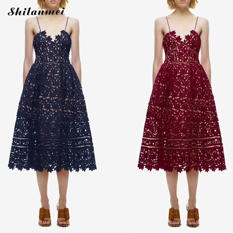 2017 Runway Party Dress Women's Sexy Spaghetti Strap Lace Mid-Calf Dress Crochet V Neck Backless Summer Dresses Vestidos Red