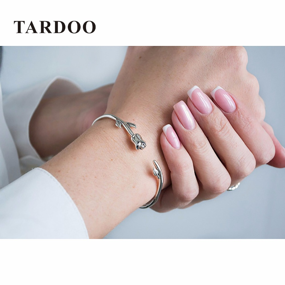 Tardoo Genuine Sterling Silver Bracelets for Women Rose Romantic Style Bracelets&Bangles Silver 925 Jewelry tongzhe endless mens bracelets 2018 sterling silver 925 cz rose gold charm infinity tennis bracelets for women jewelry pulsera