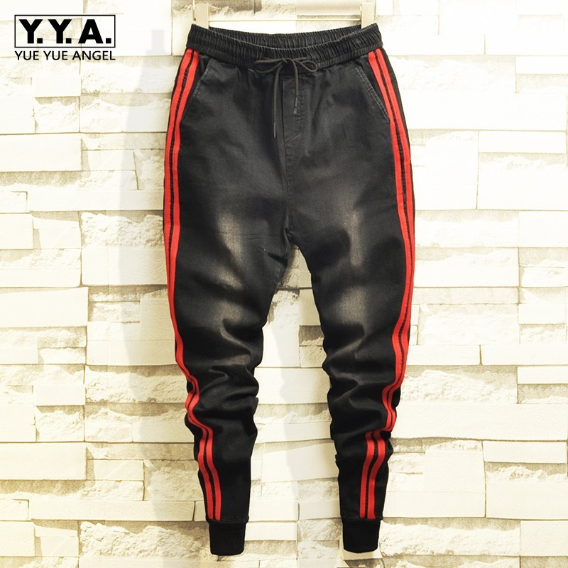 Autumn New Side Striped Elastic Waist Black Denim Pencil Pants Men Fashion Casual Slim Fit Korean Jeans Male Brand Clothing