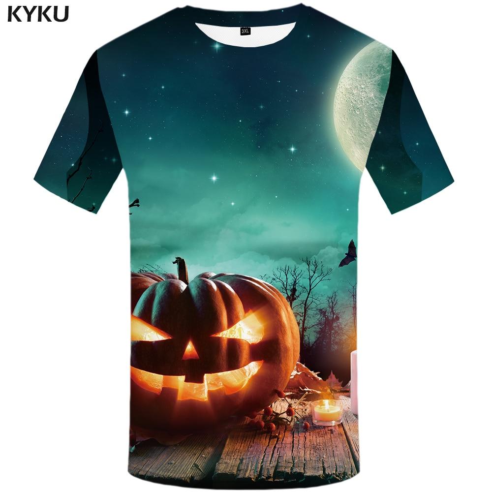 KYKU 3d Halloween Shirt Men Pumpkin T-shirt Anime Clothes Moon Printed Tshirt Hip Hop 3d T Shirt Cool Cosplay Mens Clothing New
