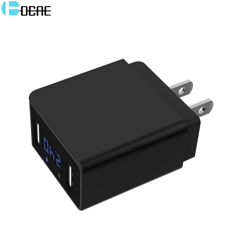 DCAE LED Affichage 2 USB Téléphone Chargeur UE/US Plug Rapide de charge Voyage Adaptateur Mobile Mur Chargeur pour iPhone iPad Samsung Xiaomi