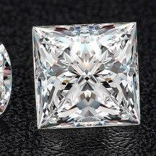 8*8mm Princess Cut  VVS Moissanite Super White Loose Diamond 2.7 carat for Wedding Ring