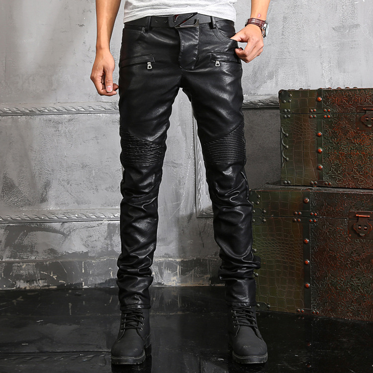0995d497 New Arrival Fashionable Washed Skinny Leather Pants Men Jeans Motorcycle  Faux Leather Elasticity Brand Sweatpants Trousers