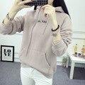 Korean Hooded Sweatshirts Women Hoodies Loose Printed Oblique Pocket Long Sleeve Hoodie Ladies Plus Velvet Thicken Sweatshirt