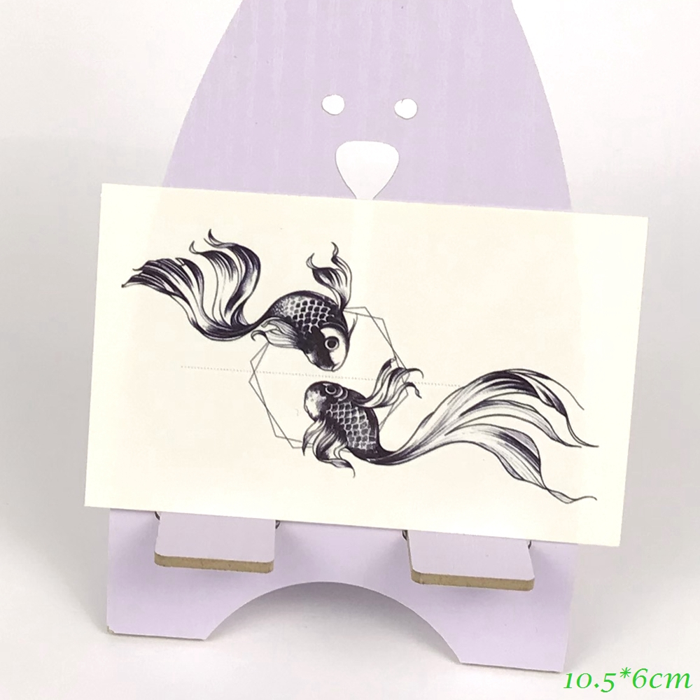 Waterproof Temporary Tattoo Gold Fish Goldfish Pisces Art Tatto Stickers Flash Tatoo Fake Tattoos Leg For Girl Women Lady Kids