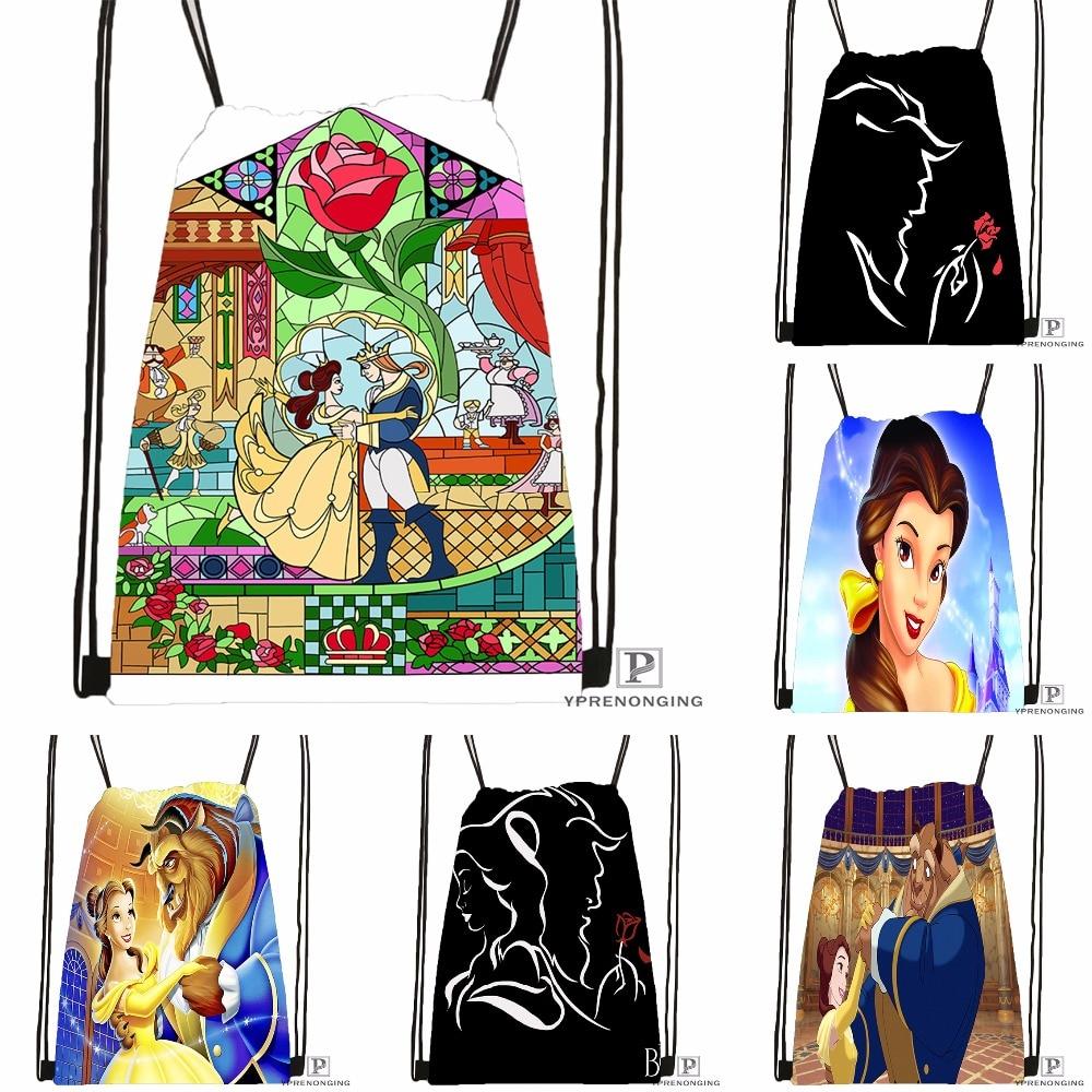Custom Beauty And The Beast Drawstring Backpack Bag Cute Daypack Kids Satchel (Black Back) 31x40cm#180531-02-18