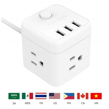 Tessan White Power Strip with 3 USB Port & 1 US Plug, 3 US Outlet Charging Station with 5 Ft Extension Cord for Pop Socket