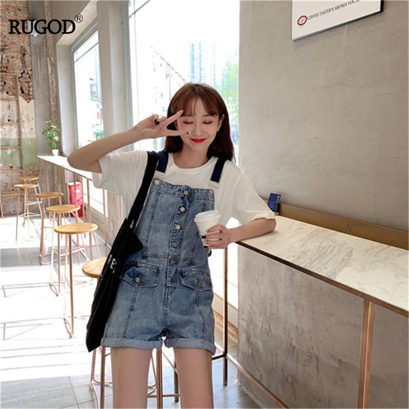 Rugod 2019 Korea Summer Women Denim Rompers Jumpsuits Women Rompers Pockets Solid Preppy Style Sweet Girl Casual Lady Complete Range Of Articles Women's Clothing