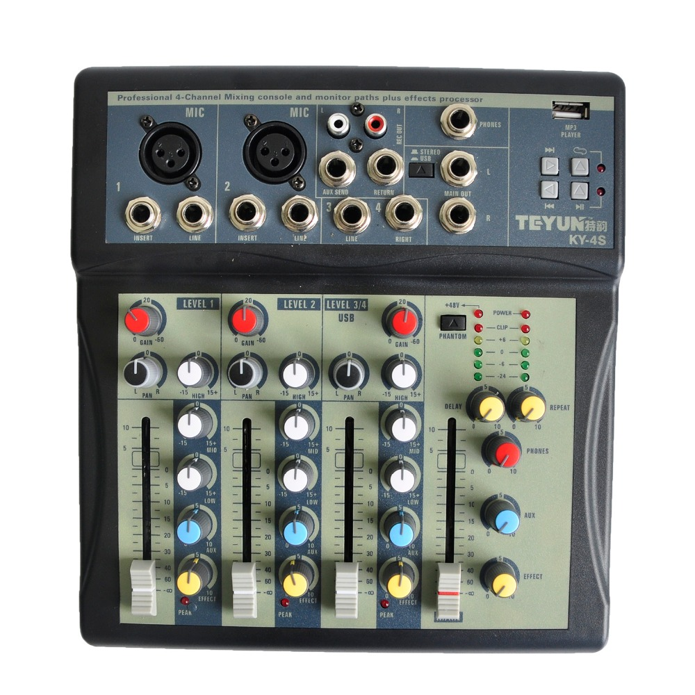 KY 4S 2 Mono 1 stereo 4 channels USB Professional DJ Audio Mixer Console with 48V