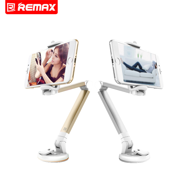 Remax Unversal Silver Mobile Phone Holder Stand 360 Rotating Desk Phone Holder Car Holder Desktop Stand Holder For Phone Bracket