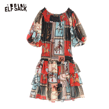 ELF SACK Sexy Slash Neck Vintage Print Women Dresses Fashion Lantern Sleeve Korean Female Dress 2019 Streetwear Casual Clothing 5
