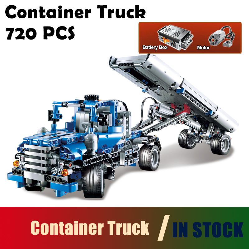 Container Truck building blocks Figure bricks toys for children Compatible with Lego Technic Series 8052 20027 720pcs 3345 technic city series mini container truck model building blocks enlighten figure toys for children compatible 8065