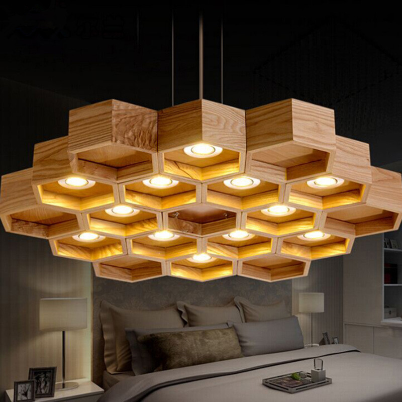 Wood Honeycomb LED Modern Wooden Pendant Lamp Indoor Dining Room Foyer Home Adornment Pendant Light 110-240V Free Shipping modern pendant lamp vintage lamp foyer pendant light loft lamp dining room lamp free shipping