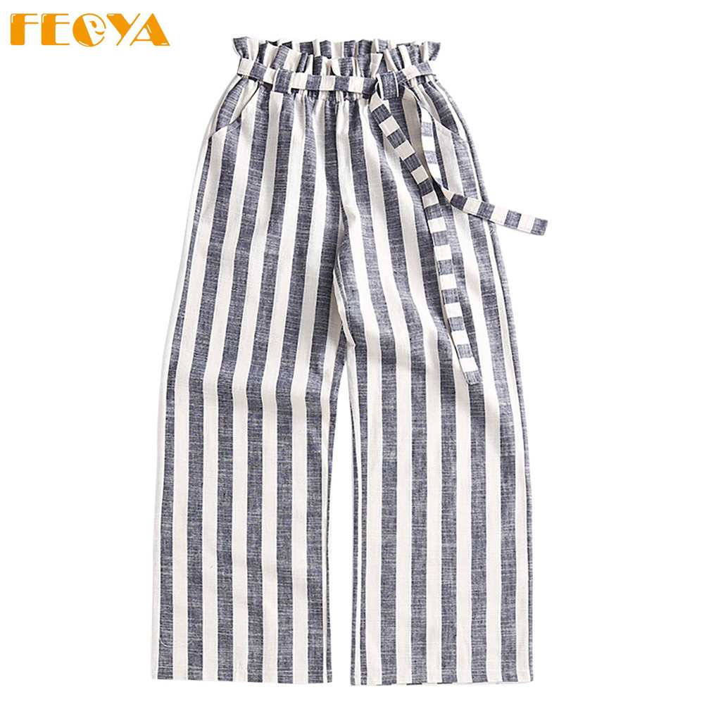Women Fashion Cotton Linen trousers striped strechy elastic Wide Leg   pants   casual Loose High Waist sash   capris   Long   Pants