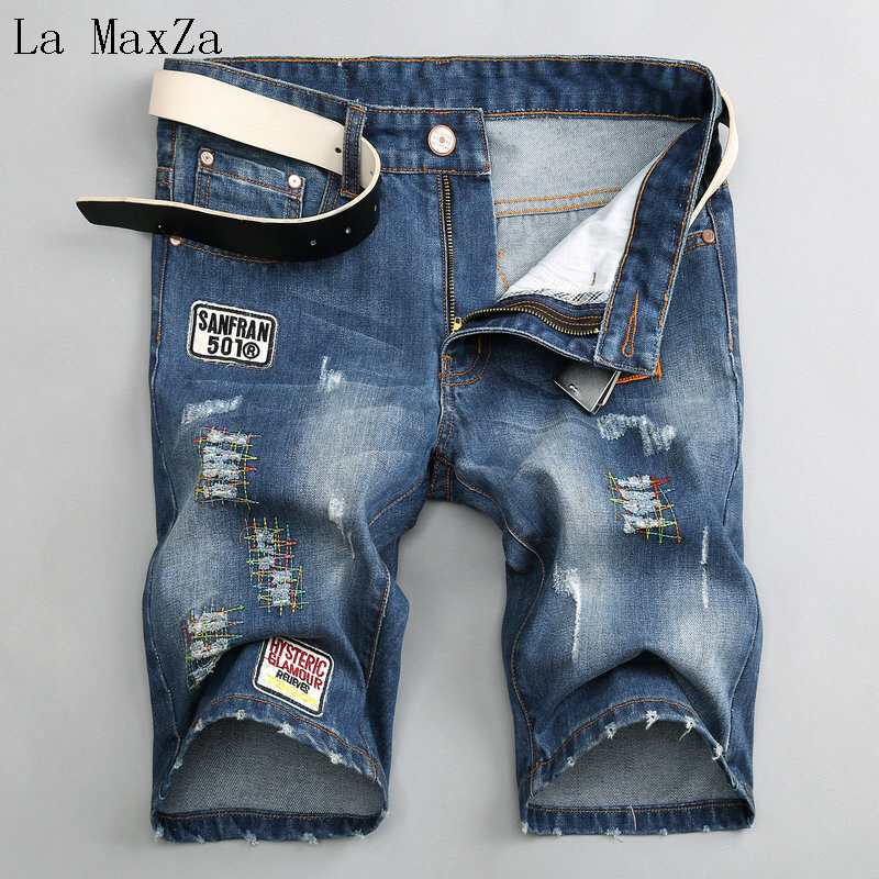 New Jeans Ripped Denim Short Men Jeans Straight Pants Men Jeans Trousers Homme
