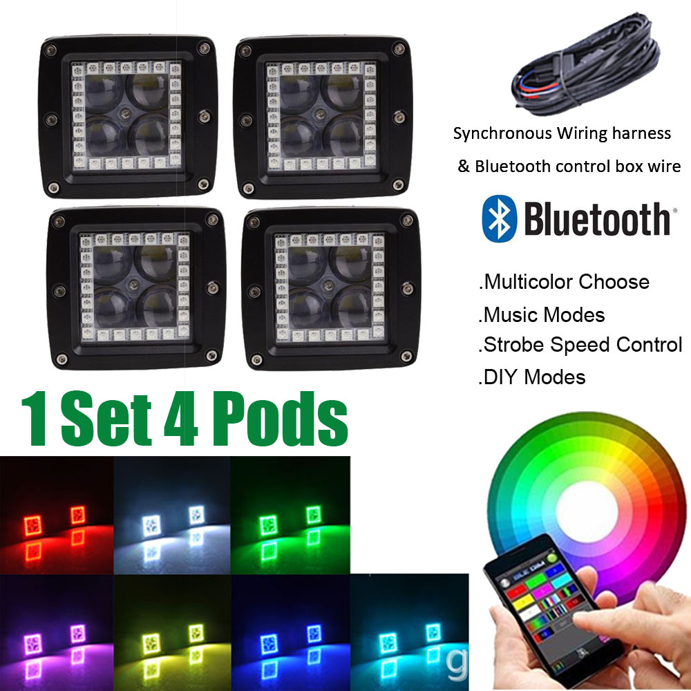 4pcs 3 Led Work Light Bar Cube Pods 4d Lens Spot Flood Beam With 2000 Ducati St2 Wiring Diagram Rgb Angel Eyes Halo Ring Multi Color Change Bluetooth