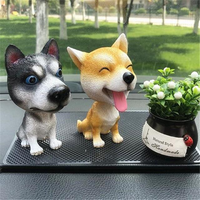 New Car Styling Resin Cute Dog Doll Husky Doll Car Nodding Dog Shake head Decoration Bobblehead Dog For Car Furnishing Articles