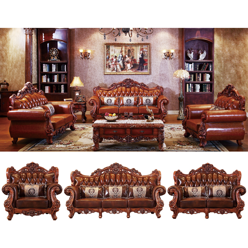 European Style Solid Wood Leather