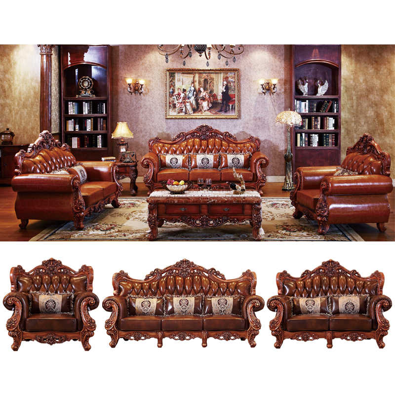 morder antique luxury classic European style solid wood leather sofa set  living room furniture