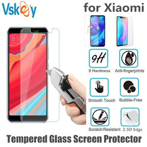 Image 1 - VSKEY 100pcs 2.5D Tempered Glass For Xiaomi Pocophone F1 Mi 6X 5X Play 5s A1 A2 S2 Y2 Y3  8 9Screen Protector Protective Film