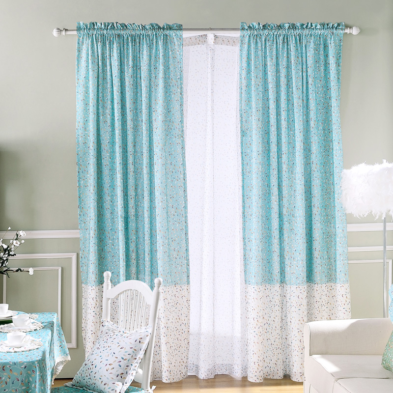 Window Curtains For Living Room Country Drapery Pattern Teal Rustic Room Divider Blackout Leaf