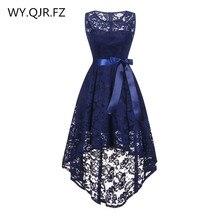 OML525Z # avant court long dos bleu foncé Bow robes de demoiselle dhonneur robe de soirée de mariage robe de bal fille en gros pas cher mode femmes