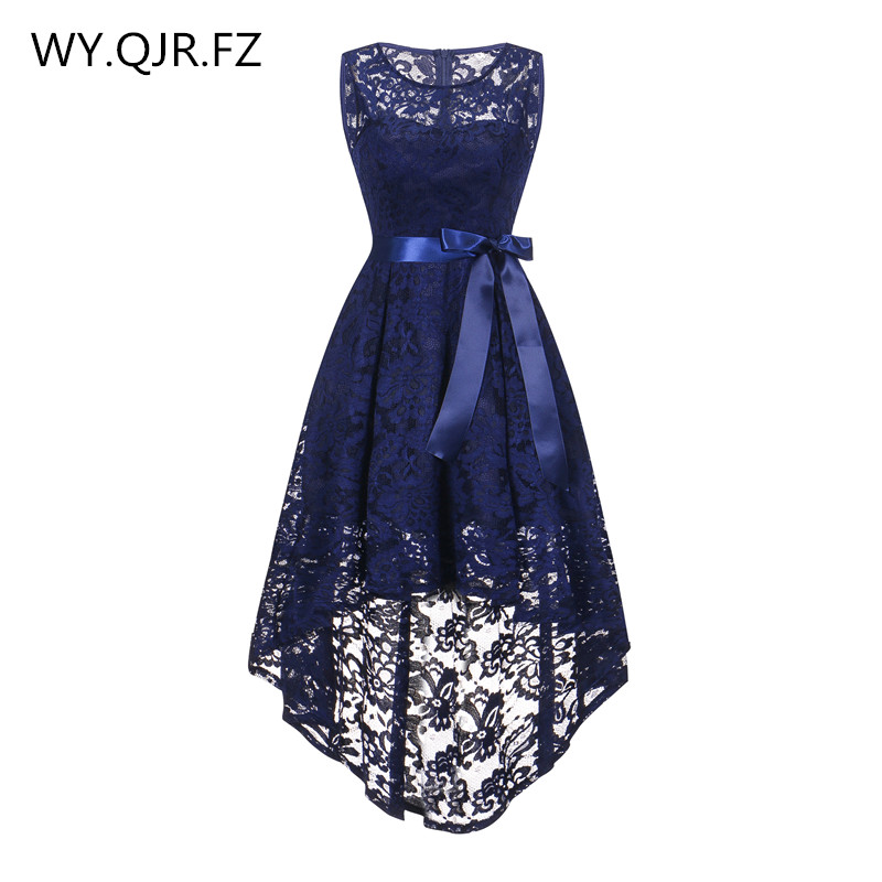 OML525Z#front short long back dark blue Bow   Bridesmaid     Dresses   wedding party   dress   prom gown girl wholesale cheap fashion women